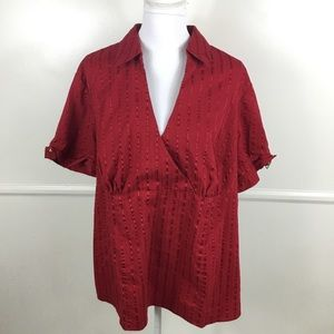 Lane Bryant Red Short Sleeve Top Womens Plus 22/24